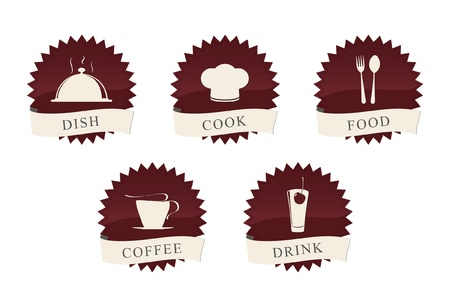 group icon: Labels set. Elements of corporate identity, food and drink industry.