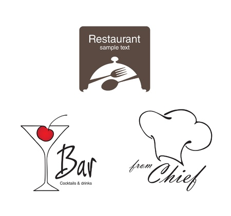 fork glasses: Etichette set. Elementi di corporate identity, industria alimentare e delle bevande.