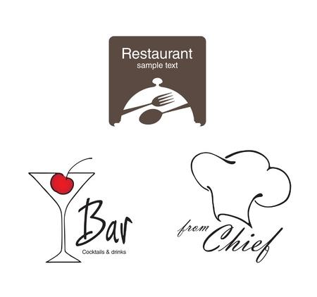 gorro cocinero: Etiquetas establecidas. Elementos de identidad corporativa, industria de alimentos y bebidas.