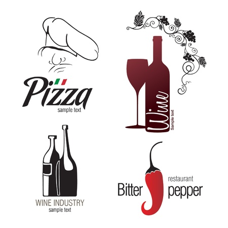 pizzeria label: Label set for restaurant, cafe, bar and winemaking  Illustration