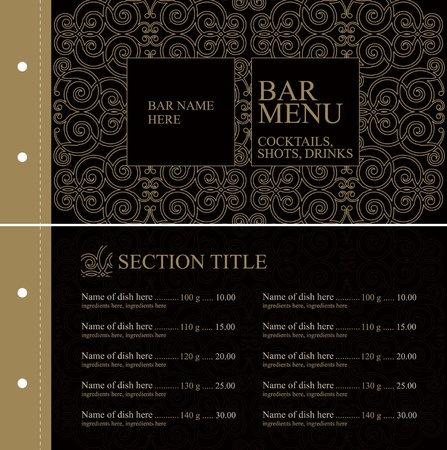 old bar: Bar menu