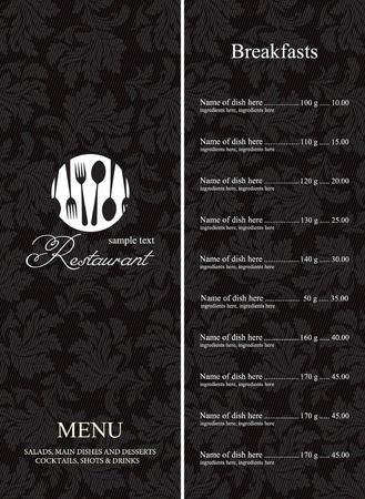 menu restaurant: Le menu du restaurant