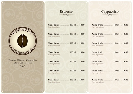 Menu for restaurant, cafe, bar, coffeehouse  Vector