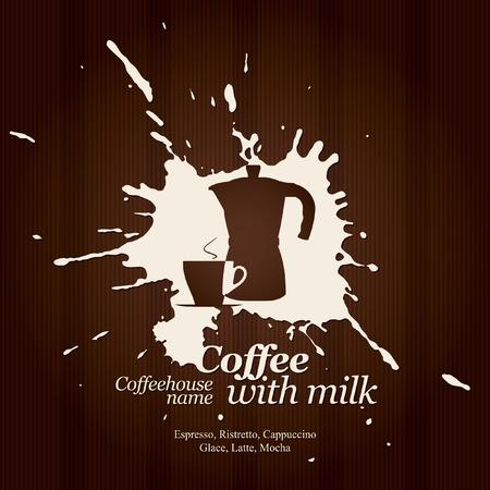 chicchi caff� su sfondo bianco: Men� per ristorante, caffetteria, bar, caff�