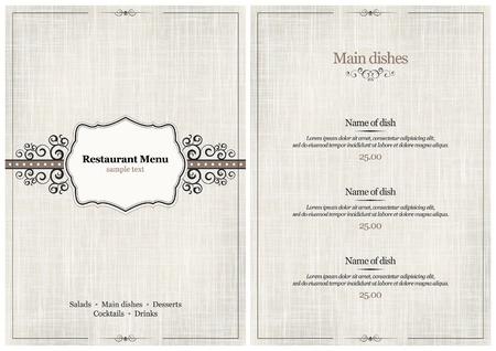 food menu: Vector. Restaurant menu design