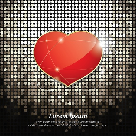Bright heart on abstract background  Stock Vector - 11539276