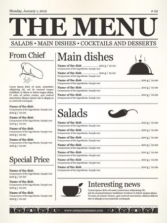 Restaurant menu design. Concept type of old newspaper  Illustration