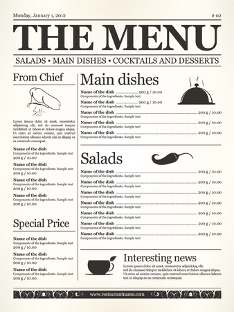 carta de postres: Restaurante de dise�o del men�. Concepto de tipo de peri�dico viejo