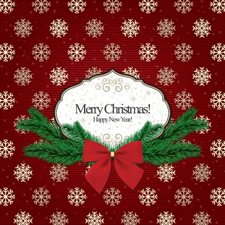 Background christmas, vintage frame for invitation  Vector