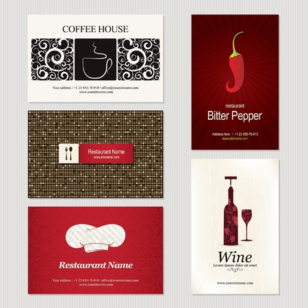 Set of 5 detailed business cards. For cafe and restaurant Vector