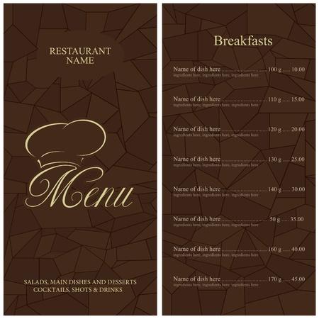 menu card design: Restaurant menu design. Vector