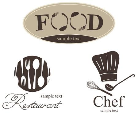 restaurant icon: Label set for restaurant, cafe and bar