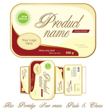 Templates design of food pack. Carton to put on the with vessel food. Full design and additional names of food Vector