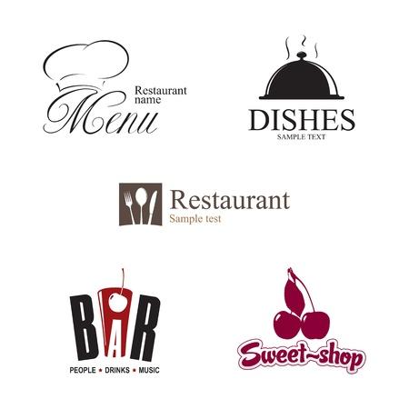 chef hat: Label set for restaurant, cafe and bar