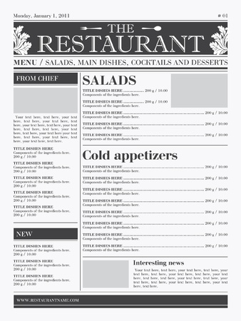 newspaper headline: Restaurant menu design. Ready concept, the type of newspaper, black & white  Illustration