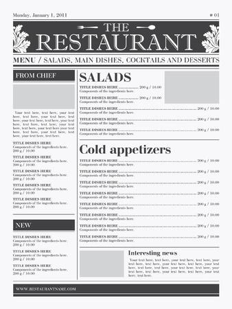 Restaurant menu design. Ready concept, the type of newspaper, black & white