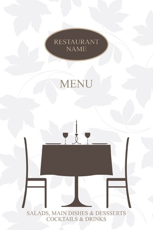 dining table and chairs: Vector. Restaurant menu design.