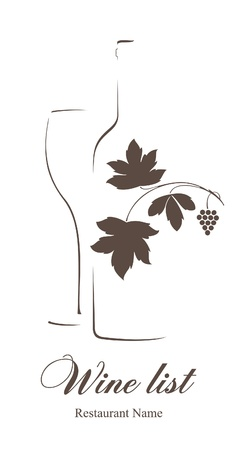 wine bar: Wine list design for cafe and restaurant  Illustration