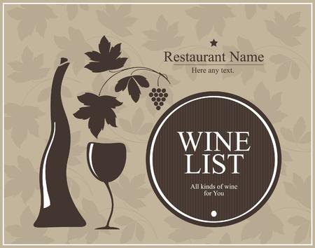 barrels set: Wine list design for cafe and restaurant  Illustration