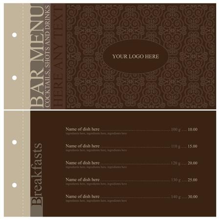 menu card design: Vector. Vintage bar menu. Full design