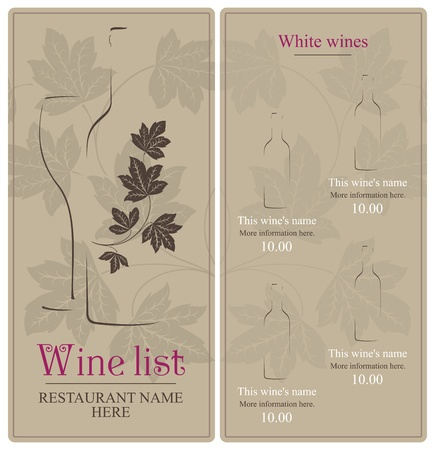 wine card: Wine list design