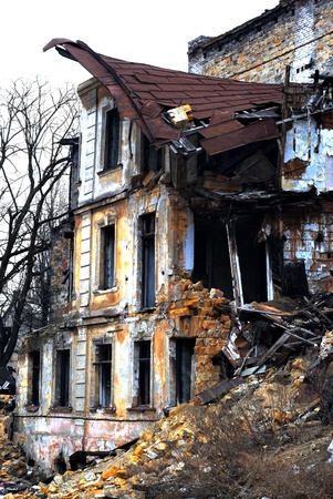 Ruined house. Old Odessa Ukraine  photo