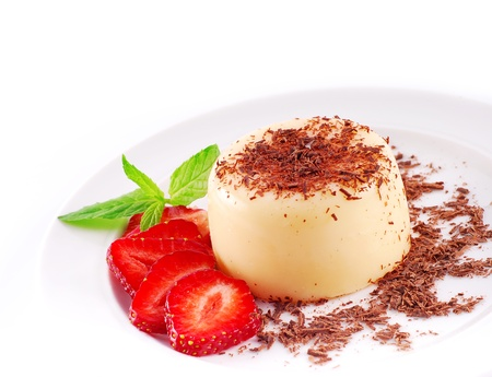 chocolate pudding: Pudding with strawberries and chocolate, a wonderful dessert  Stock Photo