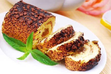 Chocolate roll, a wonderful dessert  photo