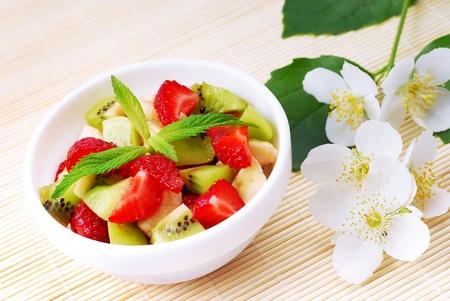 mix fruit: Fruit salad and jasmine twig