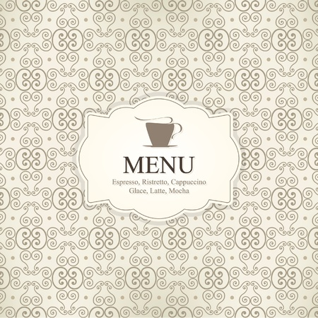 Vector. Restaurant or coffee house menu design, with seamless background Vector