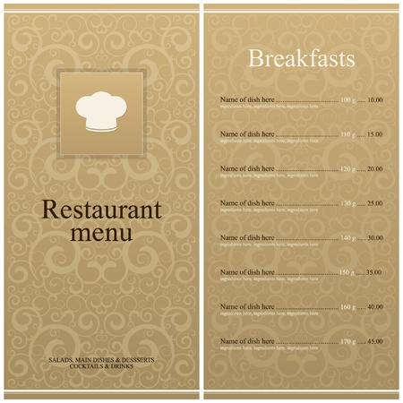 menu vintage: Vector. Restaurant menu design
