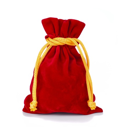 Red velvet pouch isolated on white  photo