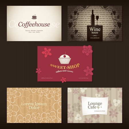 Set of 5 detailed business cards. For cafe and restaurant Stock Vector - 12245139
