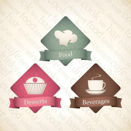 bakery sign: Alimentos y bebidas de etiqueta de conjunto Vectores