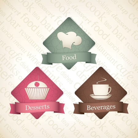 Food and beverages label set Vector
