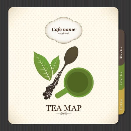 Tea map. Menu for restaurant, cafe, bar, coffeehouse Vector