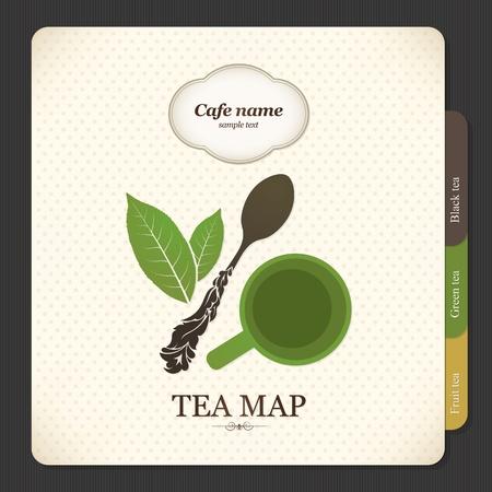 Tea map. Menu for restaurant, cafe, bar, coffeehouse Vector