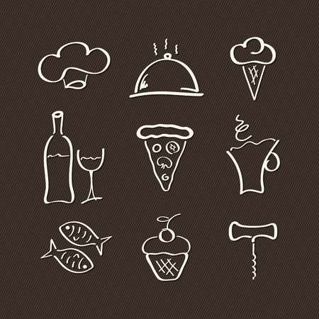 Icons set for restaurant, cafe and bar Vector