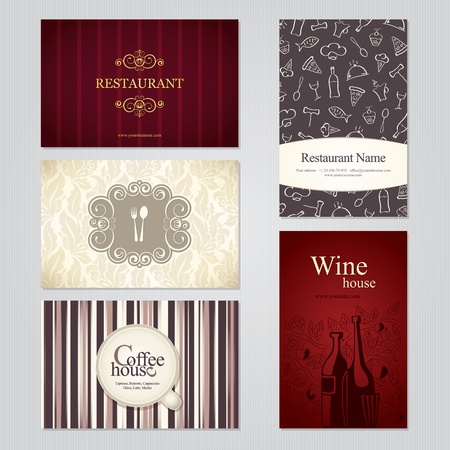 Set of 5 detailed business cards. For cafe and restaurant Stock Vector - 12486752