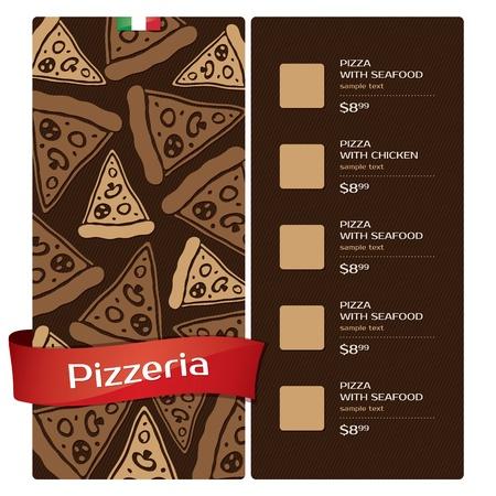 plato pasta: Men� de dise�o pizzer�a Vectores
