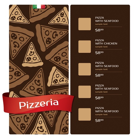 ribbon pasta: Menu design pizzeria Illustration