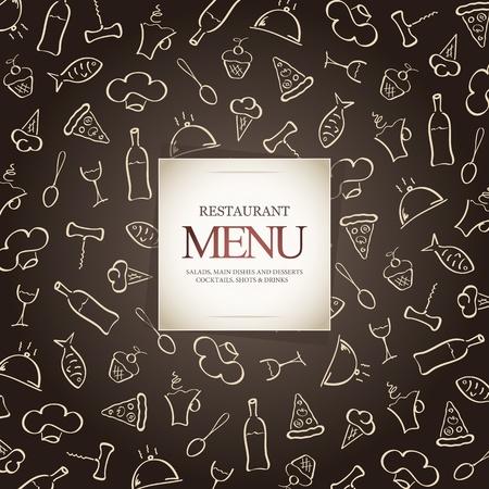 meny: Restaurang meny design, med mat ikoner bakgrund Illustration