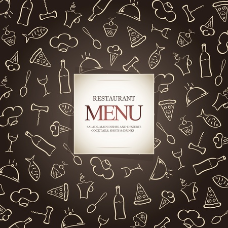 Restaurant menu design, with food icons background Vector