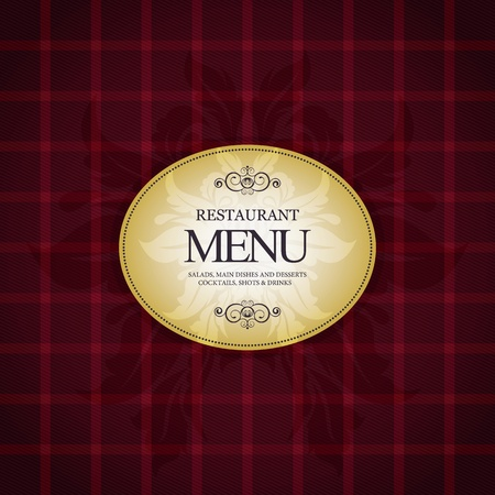 checkered label: Restaurant menu design, with trendy plaid background