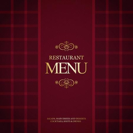 El diseño del menú del restaurante, con el fondo de la tela escocesa de moda