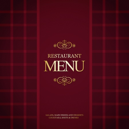 ornament menu: Restaurant menu design, with trendy plaid background