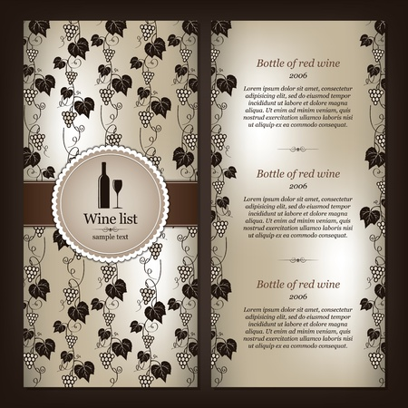 list: Wine list design Illustration