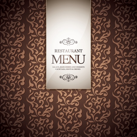 ornament menu: Restaurant menu design, with seamless background