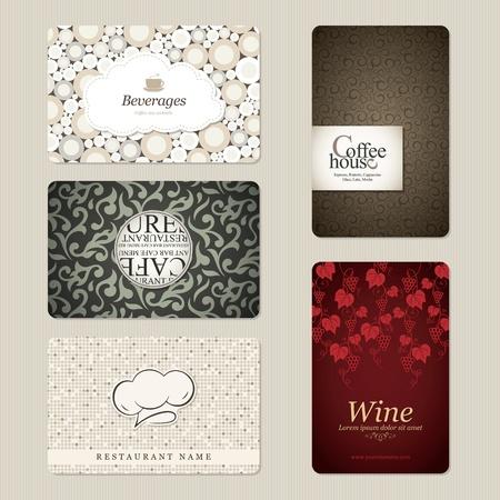 fondo elegante: Juego de 5 tarjetas de visita detalladas. Por cafeter�a y restaurante Vectores