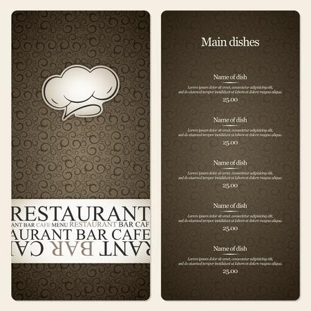 gorro chef: El dise�o del men� del restaurante Vectores